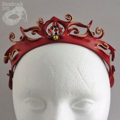 Red Queen Filigree Leather Crown In Crimson And Bronze.