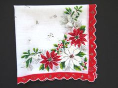 Vintage Christmas Handkerchief Red White Poinsettias Mistletoe Candy Canes Bells #Unbranded #Holiday #Christmas