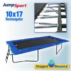 Zzz  JumpSport 10' x 17' StagedBounce Trampoline with Safety Enclosure