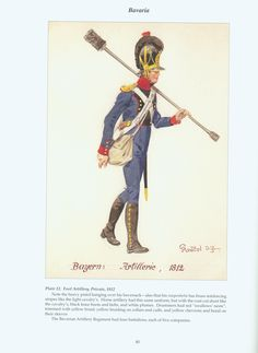 The Confederation of the Rhine - Bavaria: Plate 12. Foot Artillery, Private, 1812