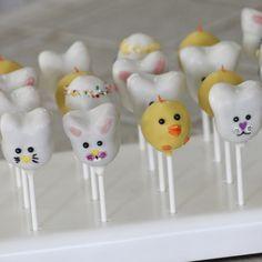 Bunny Cake Pops Easter Cake Pops, Character Cakes, Bite Size, Marshmallows, Truffles, Etsy Seller, Bunny, Rice, Cupcakes