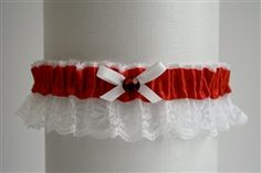 Red Satin Garter with White Lace