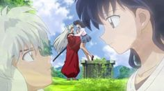 """""""This scent... There's no mistaking it!""""  """"Inuyasha, sorry. Were you waiting for me?"""""""