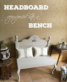 Repurposed Headboard Bench - April featured project at Talk of the town - KnickofTime.net