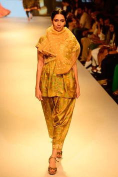 Mustard and green embroidered handwoven kurta and dhoti pants set available only at Pernia's Pop Up Shop.