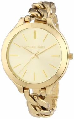 MICHAEL-KORS-MK3222-WOMENS-SLIM-RUNWAY-THIN-CHAIN-GOLD-TONE-WATCH-NEW-195