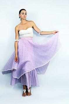 70s Vintage SHEER SCARF Layered MAXI Skirt by TatiTatiStyle