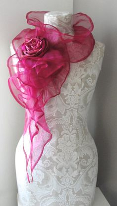 Items similar to - SILK structured scarf with rose pin by - romantic feel vintage inspired and handmade in the Uk. on Etsy Color Palette Challenge, Scarf Knots, How To Wear Scarves, Pink Love, Rose Design, Shawls And Wraps, Shibori, Scarf Styles, Womens Scarves