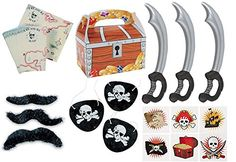 150 piece plus Pirate Party Favor Pack Toy bundle (Inflatable Swords, Tattoos, Mustaches, Eye Patches, Treasure chest Favor boxes, Maps) Fun Express http://www.amazon.com/dp/B00QJ9K2SQ/ref=cm_sw_r_pi_dp_4LSTvb099GSMH