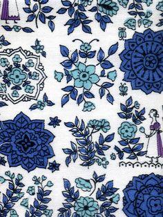 vintage fabric - blue and lavender folksy by kmel, via Flickr