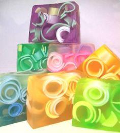 Raindrops Glycerin soap, Handmade, blue, swirly, fresh scent - - no recipe