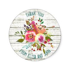 Thank You Floral Watercolors Rustic Chic Classic Round Sticker