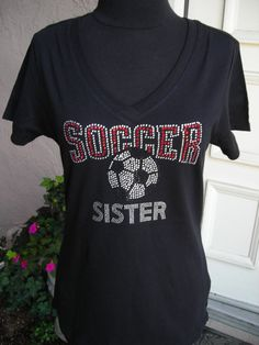Soccer Sister Short Sleeve V Neck T Shirt in Red, Black and Clear Crystals