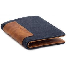 Portefeuille bleu bi-matière cuir de vachette et coton ciré #wallet…