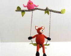 Fox and Bird Baby Mobile, Fox on a Swing, Woodland Modern Nursery Decor Mobile, Baby Nursery, Baby Shower, Waldorf, Natural Fibers, Orange