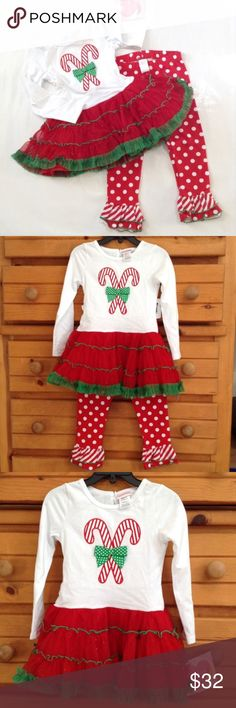 """Youngland embroidered candy cane tunic & leggings This Youngland Christmas outfit has a glittery red and green tutu with tuelle and satiny under layers. Those ruffled leggings!  APPROX FLAT MEASUREMENTS  TUNIC: 18"""" ↕️, with body being 11""""  14"""" sleeves LEGGINGS: 20"""" length with 13"""" inseam Youngland Matching Sets"""