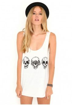 Tibea Skull Vest - tops - missguided