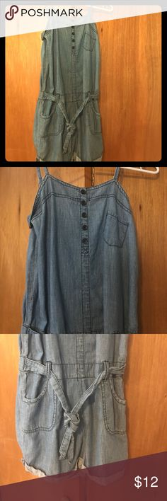 Denim style romper Denim style romper with spaghetti strap top. It has a cute tie around it. I bought it thinking I'd wear it but I believe I only wore it wince, MAYBE. It's cute and fits well, just not my style. It says size 16, but I'm not sure exactly. I wear a size 1-3 in pants and small in shirts. Other