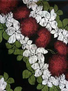 Red Ohia Lehua Hawaiian Fabric