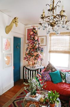 A Funky Christmas Tree complete with lots of colors and patterns.
