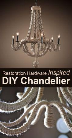 Restoration Hardware Inspired DIY Chandelier  #DIY_Chandelier #Chandelier #rope_chandelier