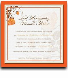 215 Square Wedding Invitations - Rose Orange & Coco Creme by WeddingPaperMasters.com. $559.00. Now you can have it all! We have created, at incredible prices & outstanding quality, more than 300 gorgeous collections consisting of over 6000 beautiful pieces that are perfectly coordinated together to capture your vision without compromise. No more mixing and matching or having to compromise your look. We can provide you with one piece or an entire collection in a one stop shop...