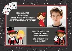 Magic Magician Photo Birthday Invitation Photo Birthday Invitations, Birthday Cards, Birthday Parties, Birthday Ideas, Magician Party, 3 Kids, Children, Magic Birthday, Magic Show