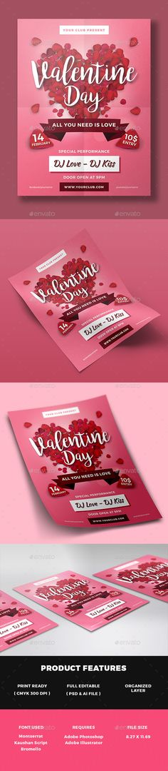 Valentines Day Party Flyer Template by Hotpin on @Graphicsauthor