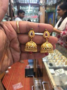 lakshmi jhumkas.Antique Lakshmi Jhumka Jumka Earrings, Gold Jhumka Earrings, Gold Bar Earrings, Jewelry Design Earrings, Gold Earrings Designs, Jhumka Designs, Gold Necklace, 1 Gram Gold Jewellery, Gold Jewellery Design