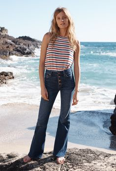 madewell flea market flare jeans worn with the allegro top + flagstone cuff.