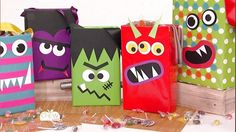 Ditch vanilla trick-or-treat bags for these spooky and scary ones your kids will love. Materials- Cereal Box- Wrapping & Craft Paper- Hole Punch - Ribbon- Glue Gun Instructions1. WRAP CEREAL BOX - Open box, remove cereal, then fold flaps inward, and secure with hot glue. Wrap box in wrapping paper, folding the bottom like you would a present. At the top, cut the paper straight down at each corner, toward the corners of the box, and fold in, securing with tape. 2. PUNCH HOLES & ATTA...