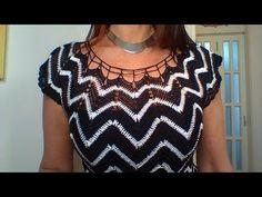 Moda a Crochet Punto Zig Zag Crochet, Tunisian Crochet, Crochet Stitches, Crochet Top, Knitting Videos, Crochet Videos, Chevron, Crochet Summer Dresses, Pullover