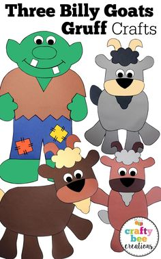 If you are teaching your preschool and kindergarten students about the fairy tale Three Billy Goats Gruff, these crafts will be a hit!  It is a perfect addition for your classroom and then pattern printables make recreating them easy!