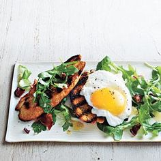 Top toasts with bacon-y arugula salad, or break the egg and let the golden yolk run over all. For a simple side, riff on hash brown potatoes by tossing refrigerated potato wedges with olive oil, salt, and pepper. Roast until golden.