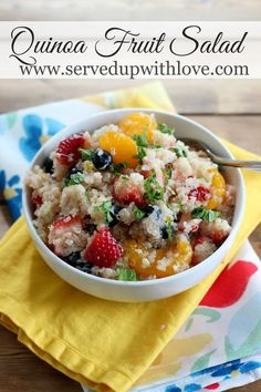Quinoa Fruit Salad recipe from Served Up With Love. Packed with protein and filled with sweetness from strawberries, blueberries, and oranges. But what brings this over the top is the honey lime sauce. http://www.servedupwithlove.com