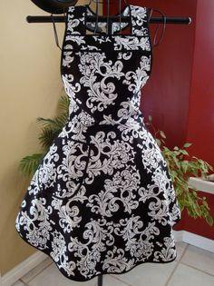 Romantic Black and White Damask Flirty Apron by lovelandavenue, $28.00