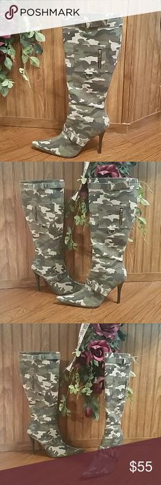 Camouflage Knee High Boots Heels Gorgeous! Unique Design!  Top & Bottom Buckle Detail  Working Side Pockets - Great Place To Hide Money & Valuables Side Zip Smoke Free,  Pet Free Home Shoes