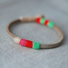 mini leather bracelet - remind me of neapolitan ice cream and summer camp