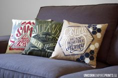 Supernatural Inspired - Team Free Will Trio Pillow Covers - Hand Printed and Sewn - these are completely adorable