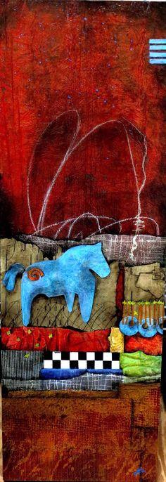 Spirit Horse, Thunder and Lightening-Collage art of Laura Lein-Svencner