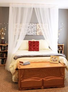 DIY Canopy Bed....doing this for Juliette's room. Can't believe how inexpensive and simple this is!!
