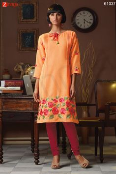 Incredible Straight Kurti Style with Butta Work. Message/call/WhatsApp at +91-9246261661