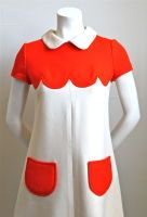 A white collar, scallops, AND pockets?! OH MY!  60's Courreges dress.