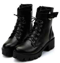 Romwe Lace Up Platform Boots Low Heel Ankle Boots, Black Ankle Booties, Shoe Boots, Women's Boots, Combat Boots Heels, Heel Boot, Black Lace Up Shoes, Black Platform Boots, Platform Shoes