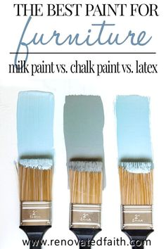 Milk Paint vs Chalk Paint vs Latex (Best Paint for Furniture Makeovers) MIND BLOWN! Milk Paint vs Chalk Paint vs Latex: What's the Best Way to Paint Furniture? Check out how these top three types Make Chalk Paint, Chalk Paint Colors, Best Paint For Wood, Chalk Paint Finishes, Chalk Paint Projects, Latex, Painting Kitchen Cabinets, Kitchen Paint, Chalk Paint Cabinets