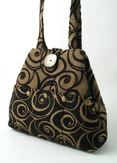 Black and Champagne tote bag converts to hobo  multi by daphnenen