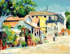 Calhoun Street, Old Town San Diego California. Painting by RD Riccoboni, one of America's favorite artists.  From The Beacon Artworks Gallery Collection at Fiesta de Reyes in  Old Town San Diego State Historic Park.