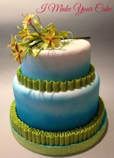 """""""A   Different Twist"""" ~ wedding Cake  ~ The Cake has been airbrushed and  the flowers are made of gum paste and leaves in wafer paper."""