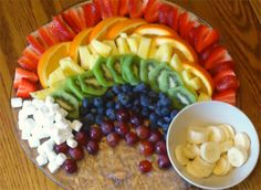 Rainbow fruit platter, with a pot of gold at the end (bananas of course – practically worth their weight in gold).