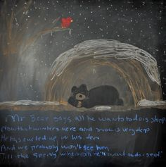 Winter ~ Bear ~ poem ~ Mr. Bear says all he wants to do is sleep  Now that winters here and snow is very deep  He has curled up in his den  And we probably won't see him  Till the spring when all he'll want to do is eat